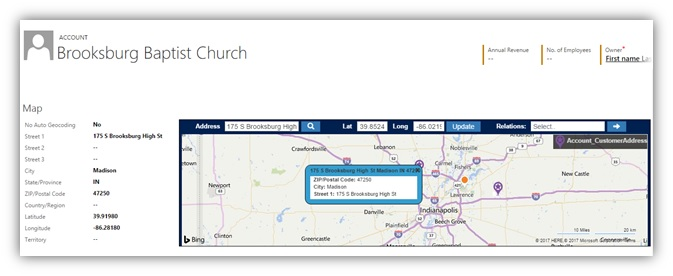 Analyze One-to-Many Relationships of Entity Record on Maps within Dynamics CRM