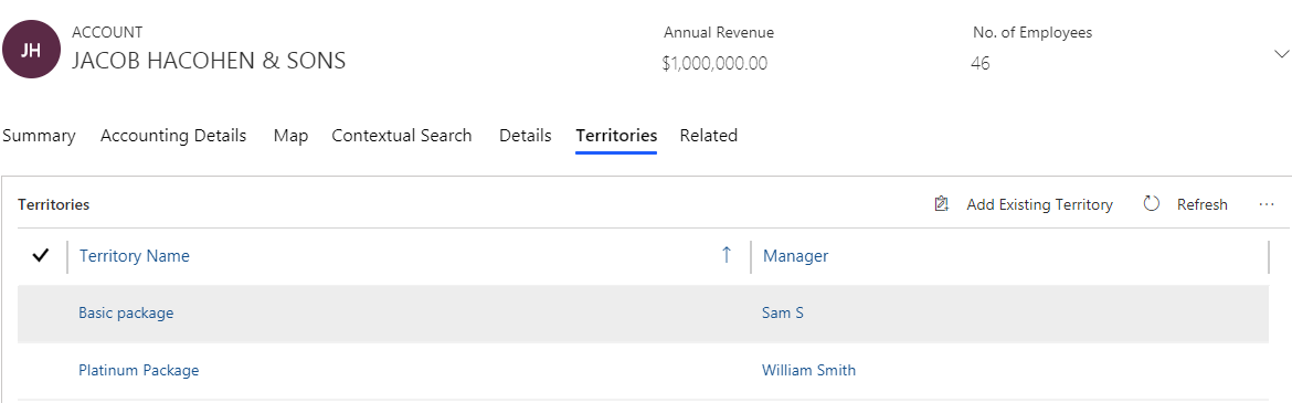 Visualise multiple territories assigned to a single record within Dynamics 365 CRM