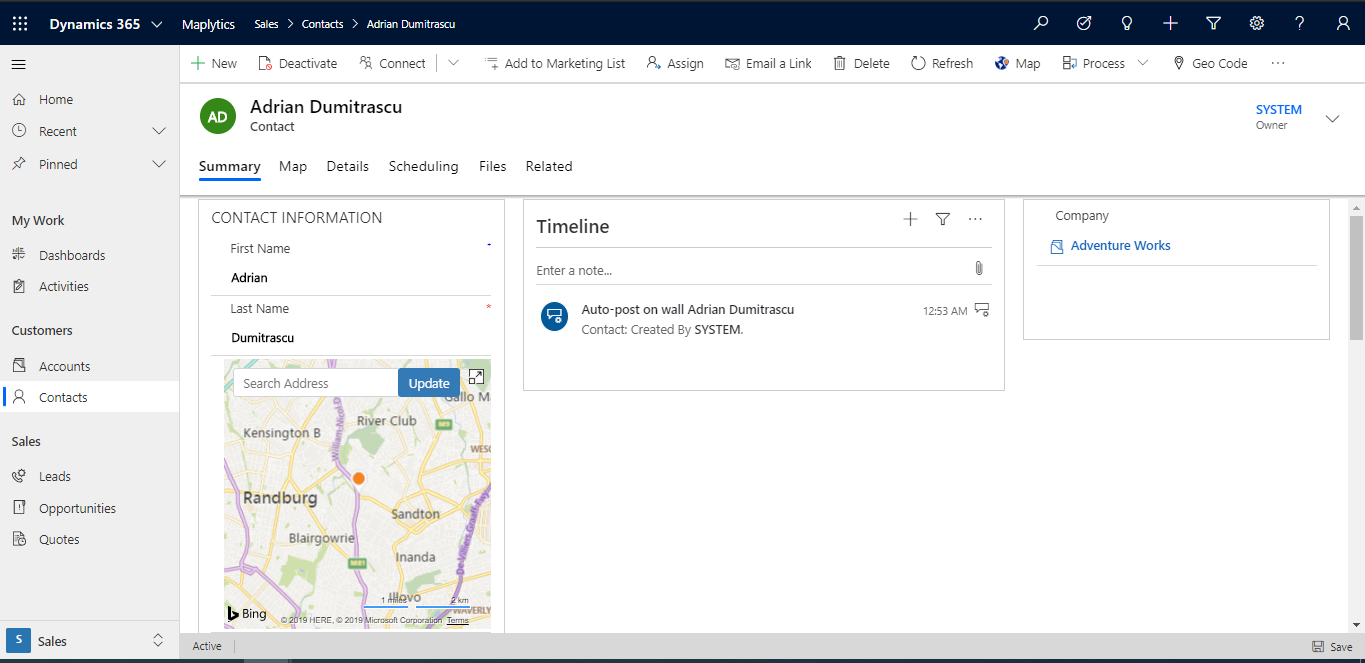 View and edit geolocation on map within Dynamics 365 CRM