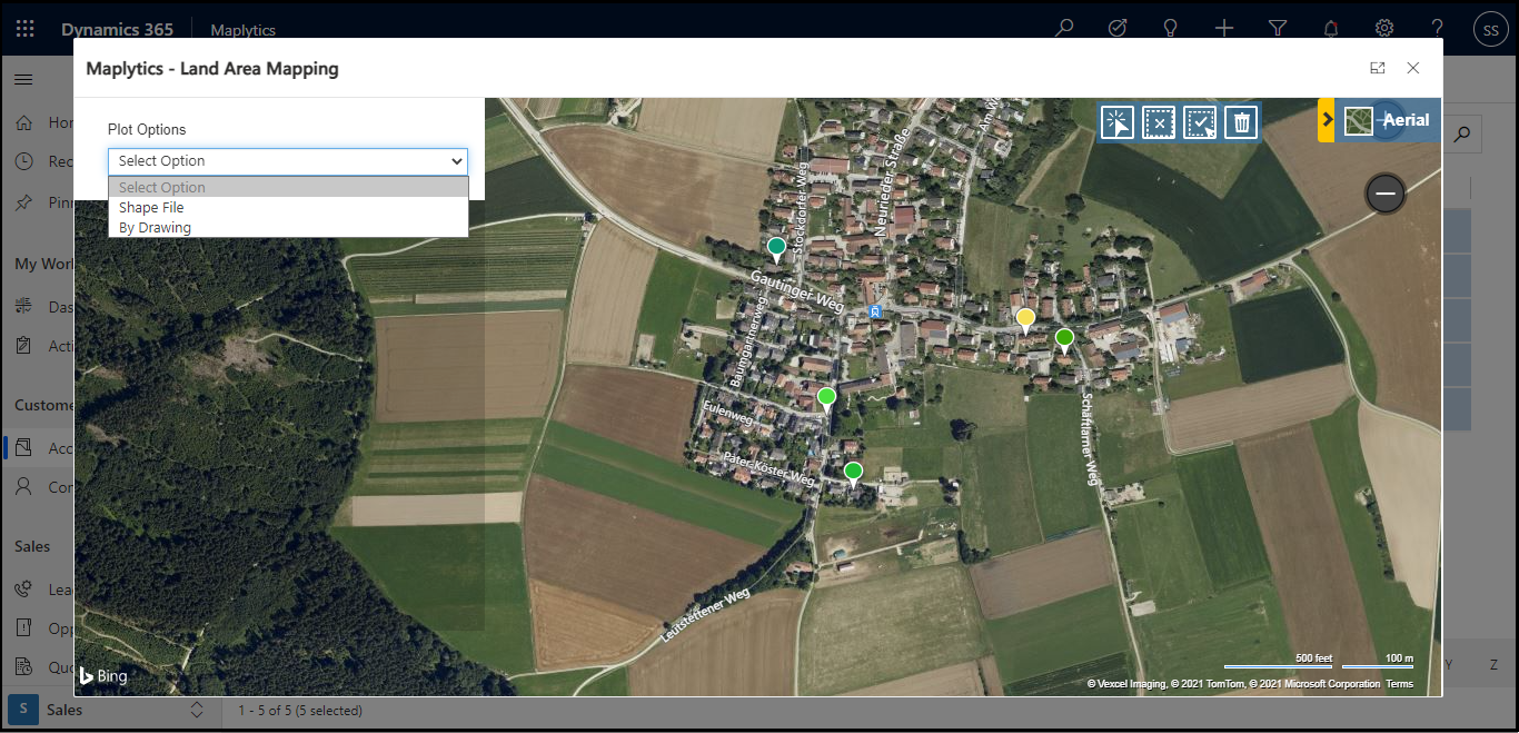 After the configuration, user can see the Land Area Mapping button on the ribbon button. Let's see how to assign and visualize Land Area to a single record Open a record and click on more command on the ribbon bar. Here you will see the Land Area Mapping button. Click on the Land Area Mapping button and a new window will open where the user can upload Shapefiles or Excel files or draw shapes for the landscapes on the map as shown in the below screenshot.