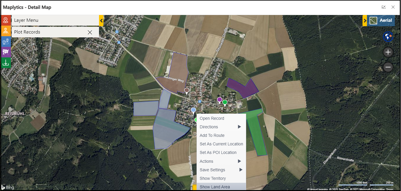 Let's take one use case to understand how Land Area Mapping helps organizations that works for the land or farm industry: Suppose AgroInd Ltd is a company that supplies equipment to farmers. Sam is the manager and their main pain point is that the location of the client is far away from the actual farming location, and it takes a lot of time to find the exact location as the land and all nearby land is farming land. This makes it difficult to understand the actual area and navigate to that location. Here, with the help of Maplytics, Sam has already configured an assigned area for the respective records. And now Sam wants to visualize all this farm on the map and create a route so that the driver can easily go to the location and find the exact place without any issue. So, first Sam opens Detail Map and plots all the farms where he wants to provide equipment. Once he plots the records, he just right-clicks on them and selects 'Show Area' from the context menu.